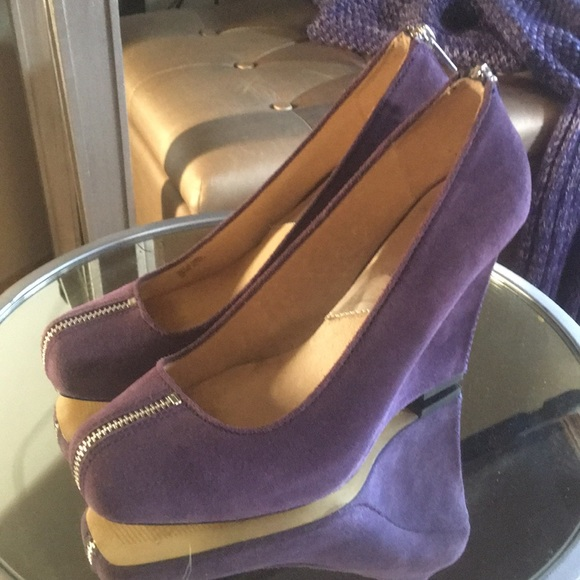 Michael Kors Purple Suede Wedges With